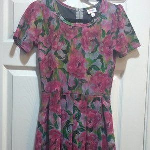 LulaRoe Nicole Dress with Floral Print - S